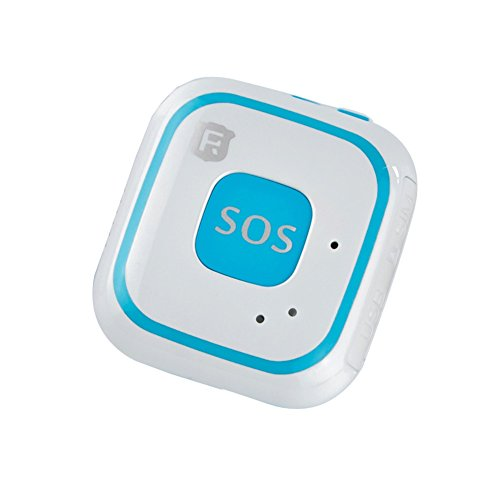 Collana con dispositivo di tracciamento e localizzazione GPS per anziani e bambini, con sistema di allarme e SOS integrato, con antenna per tracciamento in tempo reale, Wi-Fi, RF-V28, Blue with package