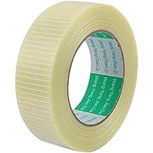 sourcingmap® Altura 35 mm Longitud 50M largo adhesiva aislante rejilla de fibra de vidrio rollo de cinta