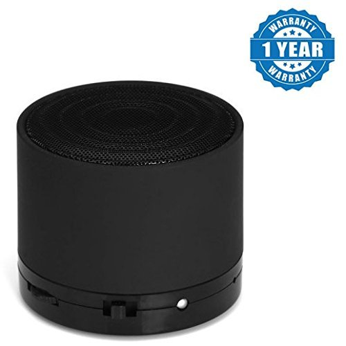 JIKRA Bluetooth Mini S10 LED Light Enabled Speaker with TF Micro SD Memory Cards Slot FM Radio Aux Cable Functionality (Black)