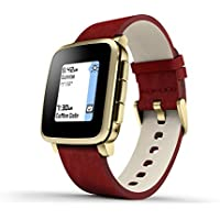 Pebble 511-00036 Time Steel E-paper Display Leather Band Smartwatch