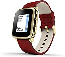 Pebble 511-00036 Time Steel E-paper Display Gold with Red Leather Band Smartwatch