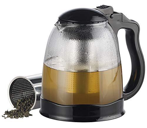 Rosenstein & Söhne Teebereiter: Teekanne aus Glas mit herausnehmbarem Edelstahl-Siebeinsatz, 1,5...
