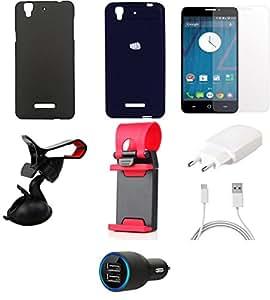 NIROSHA Tempered Glass Screen Guard Cover Case Charger Mobile Holder Combo for YU Yureka Combo
