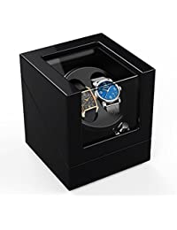 Double Automatic Watch Winder Box 4 modes, Wood Shell, Piano Paint Black Gloss
