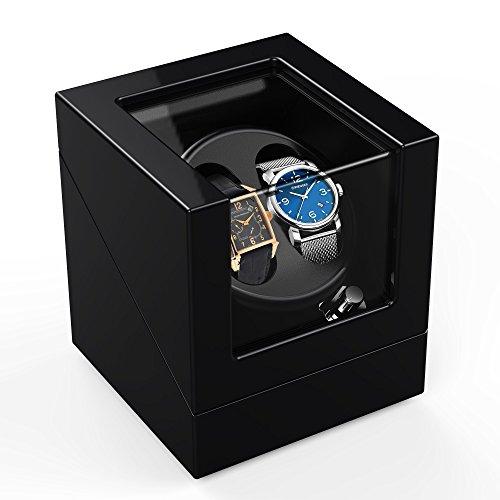 Automatische Uhrenbeweger-Box mit 4Modi für 2 Uhren, Holzgehäuse, schwarze Klavier-Glanzlackierung