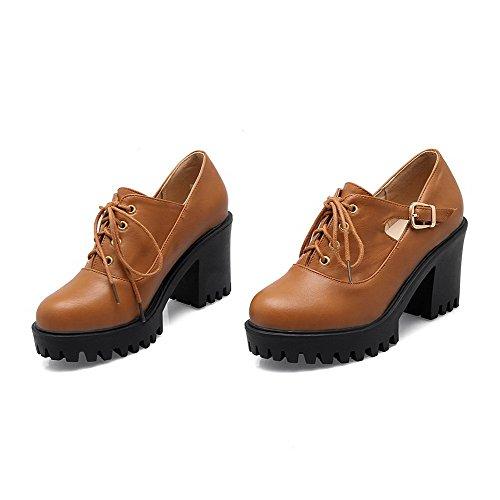 VogueZone009 Femme Matière Souple Rond à Talon Haut Boucle Couleur Unie Chaussures Légeres Jaune