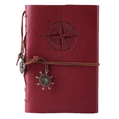 Kunstleder-Tagebuch, Notizbuch, nachfüllbar, Spiralbindung, klassisch, geprägt, Reise-Tagebuch, mit Blanko-Seiten und Retro-Anhängern, von Maleden weinrot