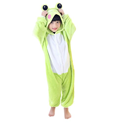 Imagen de happy cherry  pijama ropa de dormir disfraz de animal rana de franela para niños niñas  verde  talla 115