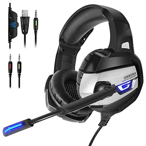 Gaming-Headset mit Mikrofon für PS4, Xbox One, PC, 3,5 mm Surround-Stereo-Spiel-Kopfhörer mit Geräuschunterdrückung, LED-Leuchten und weichen Memory-Ohrenschützern für Laptop Schwarz schwarz