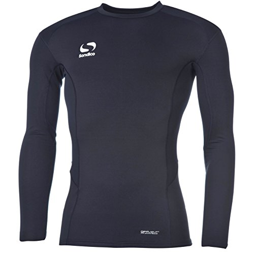 Sondico Kids Long Sleeve Core Base Layer Top Junior Compression Fit Sports Navy 11-12 Yrs