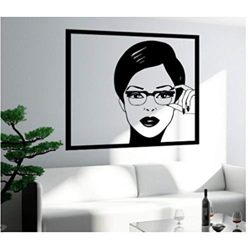 Sexy Mädchen Frau Teen Wandaufkleber In Gläser Pop Art Schlafzimmer Wandtattoo Design Selbstklebende Tapete Removable 57X89 Cm