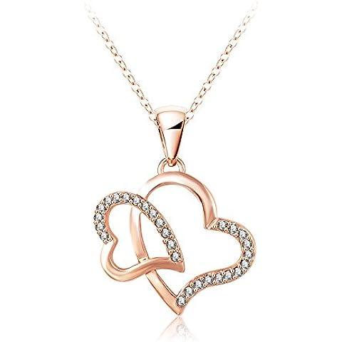 Trolux (TM) Romantico pendenti di collana Nuovo cristallo 18K oro rosa / platino placcato doppio cuore collana Mix Colors Opzioni NL0047