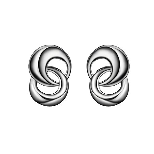 Kangqifen Schmuck Damen Ohrstecker,2 PCS S925 Sterling Silber Ohrringe Ohrschmuck,1,0 * 0,7 (Modeschmuck Chanel Cc Ohrringe)