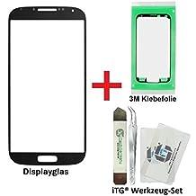 iTG® PREMIUM Juego de reparación de cristal de pantalla para Samsung Galaxy S4 Negro - Panel táctil frontal oleofóbico para i9500 i9505 i9515 LTE + 3M Adhesivo precortado y iTG® Juego de herramientas