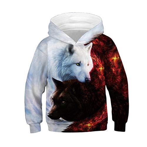 stgdfczx stote Unisex Herren Hoodie 3D Grafik Print Pullover Sweatshirts Kapuzenpullover mit Taschen Wolf Print Kapuzenpullover Baseball Jersey, Weißer Hut Schwarz und Weiß Wolf_7XL -