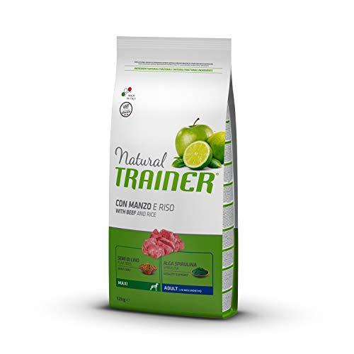 Natural Trainer Adult Maxi - Cibo Secco per Cani con Manzo e Riso, 12 kg