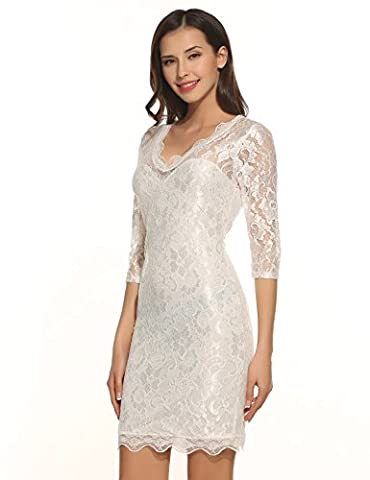 Meaneor - Robe - Crayon - Femme - blanc - 44