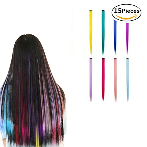 "Preisvergleich Produktbild Haarverlängerungen 15 Stück 55cm (21 "") Multi-Farben Highlight Clip in Haarverlängerungen Fashion Beauty Salon Supply Straight Perücken"