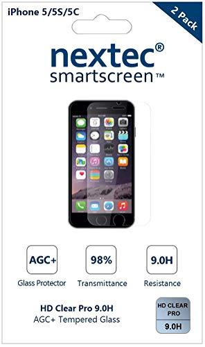 Nextec iPhone 5 Schutzfolie Gehärtetem Glas Panzerglas, (2 Pack) iPhone 6 Displayschutzfolie Schutzfolie Displayschutz Screen Protector für Apple iPhone SE/ 5S/ 5C/ 5 (Screen Protector 5c)