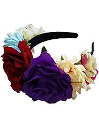 Auto Echo Flores Corona Cinta Disfraz Rose Flor Corona México Fiesta  Decoración de Joyas Artificiales Mujeres… e85c6a898b6d