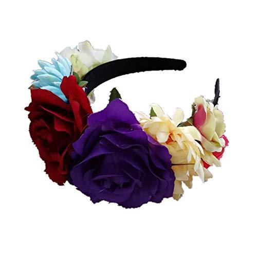 Blumenkranz für Mädchen Blume Krone Stirnband Party Dekoration Kopfschmuck Künstliche Frauen Stirnband Garland Kostüm (Ski Kostüm Mädchen)