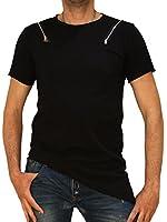 8051 Herren, Jungen T-Shirt, Baumwolle, kurzarm, figurbetont, schwarz, S, M, L, XL.