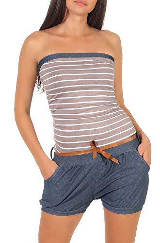 Malito Damen Einteiler kurz im Marine Design | Overall mit Gürtel | Jumpsuit im Jeans Look | Romper - Playsuit 9646 (Fango) (Denim-kleid Frauen Der)