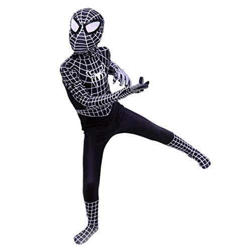 FYBR Kids Black Spider-Man SuperSkin Costume - Children Unisex Boys & Girls Onesie | Zentai Animal Cosplay Outfit Halloween Clothing Lycra Spandex - Spidermans Kostüm