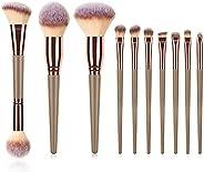Kaur Beauty- New Style Vegan Premium Professional Makeup Brushes- Foundation, Blush, Eye Shadow Brush Set 10pc