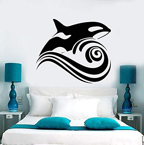 Vinyl Wandtattoo Wal Welle Meer Ozean Stil Wandaufkleber Removable Home Badezimmer Dekor Meer Tier DesignKunstwandDecor66x57 cm