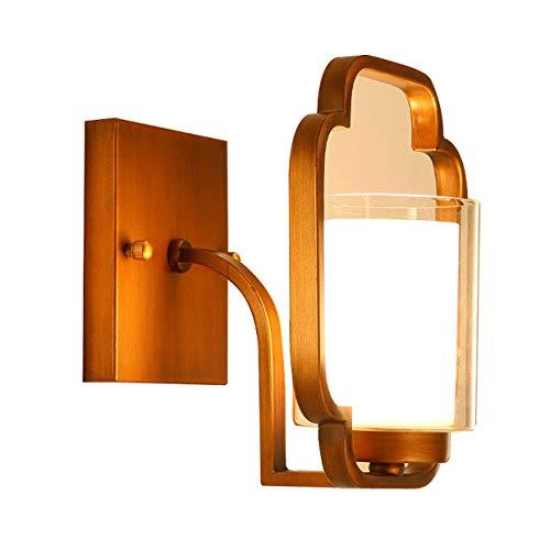 Wljbd lampada da parete orientali, lampada in ferro battuto corpo in vetro paralume camera da letto soggiorno corridoio scale da comodino lampada da parete e27