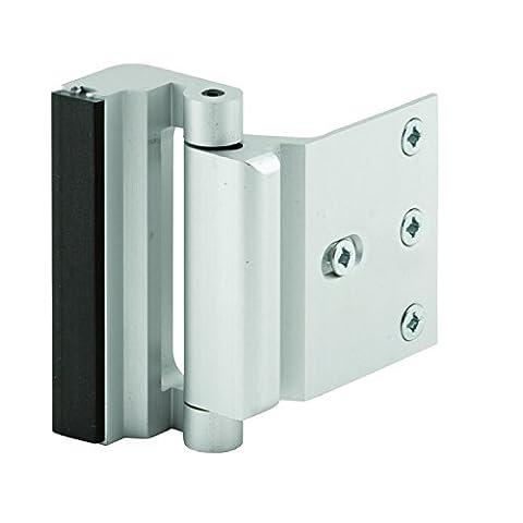 Prime-Line Products U 10827 Door Reinforcement Lock, 3 in. Stop, Aluminum Construction, Satin Nickel Anodized