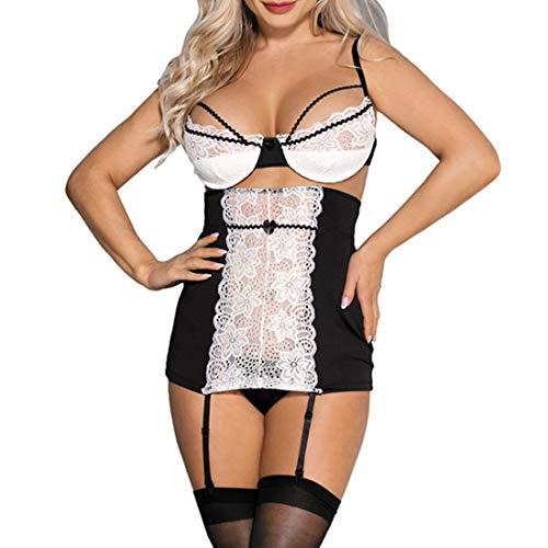 WHWH Große Größe Sexy Dessous Großhandel Spitze Sexy BH Taille war dünn Strumpfband Unterwäsche Set Einstellbare transparente Versuchung,Black-3XL