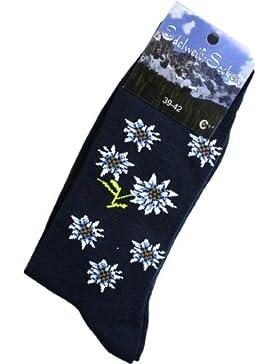 Trachtensocken Edelweiß-Socken Blütenmuster dunkelblau