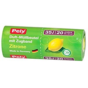 pely 8624 Duft-Müllbeutel mit Zugband Zitrone, 35 Liter, 20-Stück