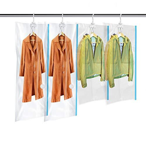 MRS BAG Hängend Vakuum Aufbewahrungsbeutel mit Kleiderhaken - Set aus 4 (2*Groß + 2*Kurz) Vakuumbeutel mit Handpumpe für Kleidung Aufbewahrung - Vakuum Platzsparer für zu Hause & Reise
