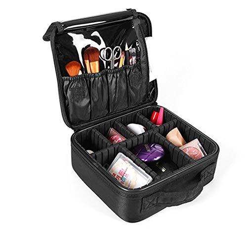 WANGXN Trousse de Maquillage Portable avec Porte-pinceaux - Grand étui de Maquillage pour Voyages dans l'espace avec Compartiments,Black
