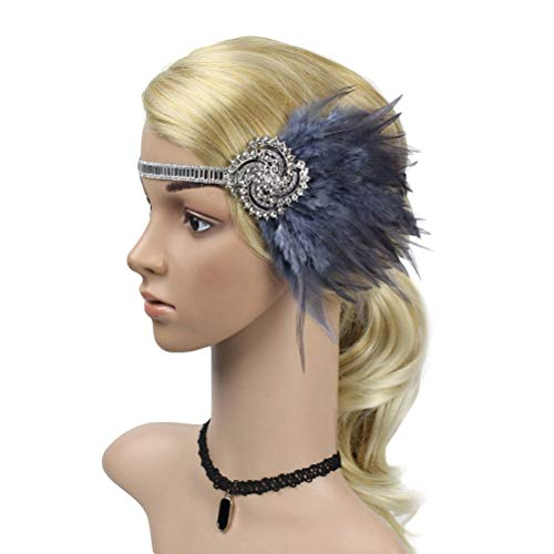 FENICAL Gatsby Stirnband Flapper Feder Kopfbedeckung Kopfschmuck der 1920er Jahre Kopfschmuck für Frauen Mädchen (Grau) (Jahren Flapper-girl 1920er)