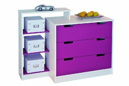 Links 20701010 Johanna - Cómoda para Habitación Infantil, color morado y blanco