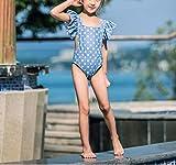 Swallowuk Baby Mädchen Tankini Bikini Einteiler Cute Badeanzug Schwimmanzug Bademode Beachwear Spa Kleider (L, Blau)