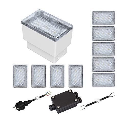 ledscom.de 10er-Set LED Pflasterstein CUS Bodenleuchte für außen, warm-weiß, 230V, 8x5cm -