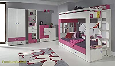 Bunk Bed/High Sleeper Composition KOMI System A. Kids/Children Furniture Set. Bunk Bed with Storage Drawers, 2D Wardrobe, Free Standing Display Unit and Chest of Doors/Drawers