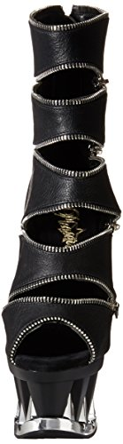 Pleaser SPIKY-647 Damen Plateau Stiefelette Blk Faux Leather/Blk Matte