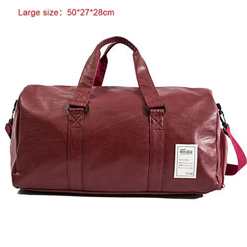 TTZZ 2019 Qualität Reisetasche Schwarz Pu-Leder Paar Reisetaschen Handgepäck Für Männer Und Frauen Mode Seesack Rot50 * 28 * 27 cm