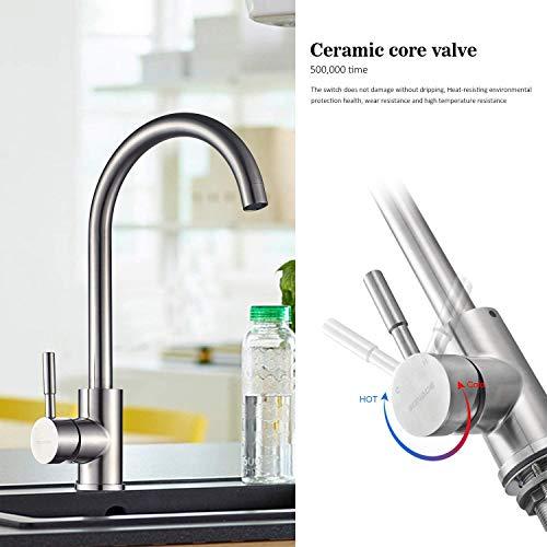 Kinse® 2 Jahre Garantie Gebürstet Silber Küchearmatur Mischbatterie Spültischarmatur 360°Drehbar aus Edelstahl SUS304 mit ABS Bubbler Kann Wasser 30% Sparen für Küche Waschbecken - 5