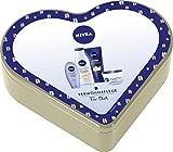NIVEA Herz Geschenkset für Frauen, Pflegeset mit Creme Ölperlen Pflegedusche, Sensual Pflegelotion, NIVEA Care Creme & Soft Care Hand Creme, Weihnachtsgeschenke Set in der Herzdose