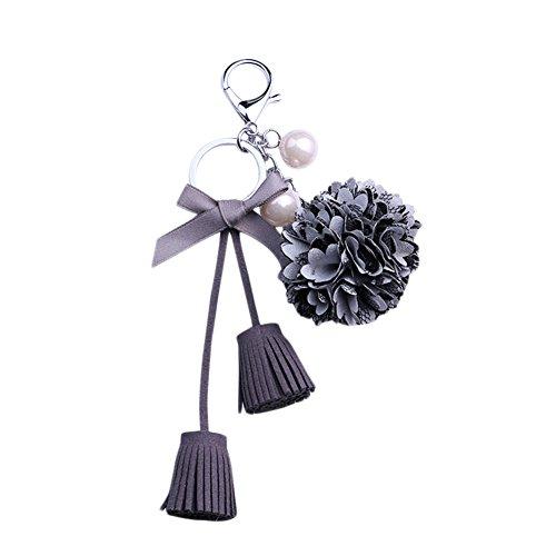Kanggest Bogen mit Fransen Schlüsselanhänger Blume Perle Schlüssel Zubehör Tasche Anhänger optional DREI Farben (grau) -