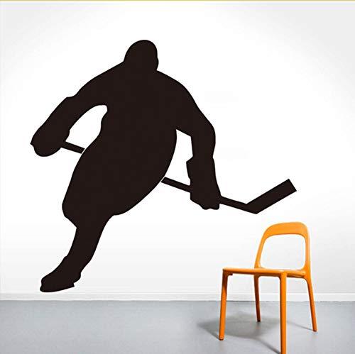 Lvabc Eishockeyspieler Silhouette Wandtattoo Vinyl Abnehmbare Jungen Zimmer Dekorative Wandaufkleber Wasserdichte Große Größe Muster 44X42 Cm (Halloween Fenster Silhouetten Muster)