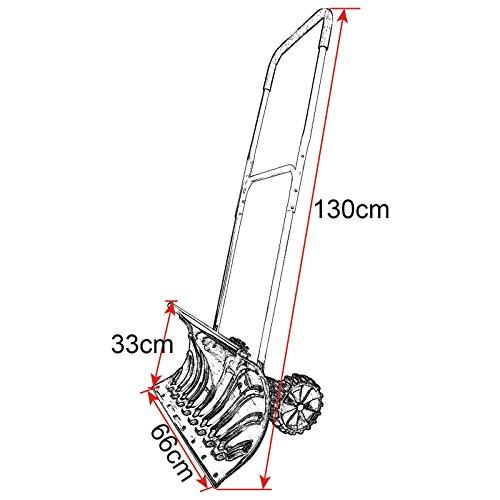 WOLTU #145 Schneeschieber Schneeschippe Schneeschieber mit Rädern Schnee Schaufel Schieber Länge:130cm (2745 Schwarz) - 7