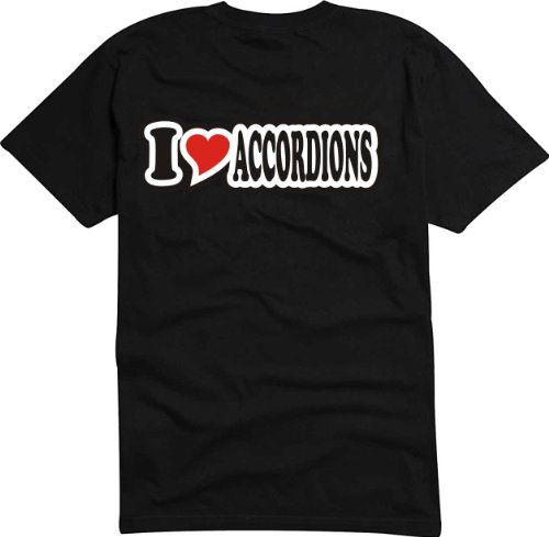 T-Shirt Herren - I Love Heart - I LOVE ACCORDIONS Schwarz